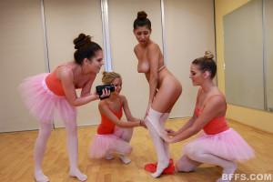 Four lesbian teen undressing