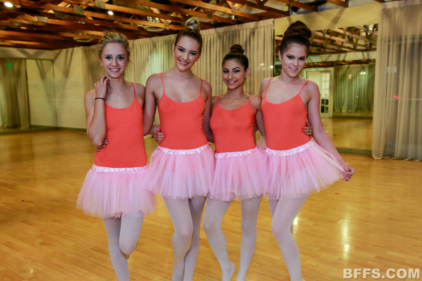 Lesbian teen ballerinas take a break from training for sex