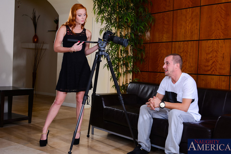 Perfect real redhead slim and tall pornstar in black short dress