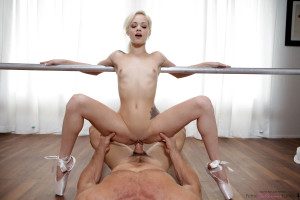 Perfect young and small ballerina dancer girl pov sex