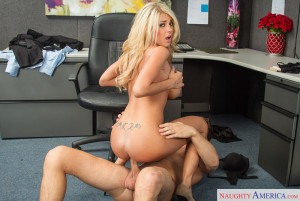 Sexy slim blonde with big tits rides a dick in the office