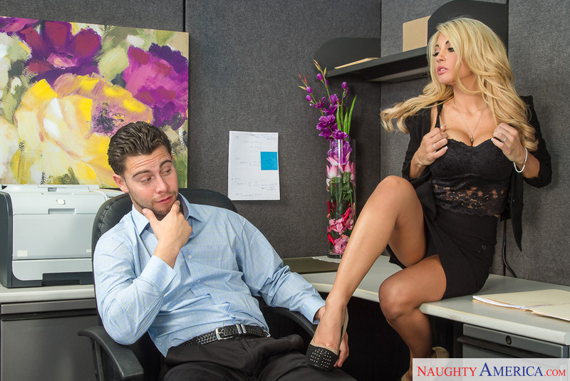 Sexy slim blonde with big tits in the office