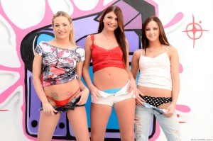 3 sexy girls in short hotpants getting undressed