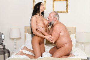 Old guy licks big tits of a perfect milf