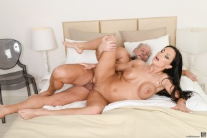 Old guy has sex with a perfect black haired milf