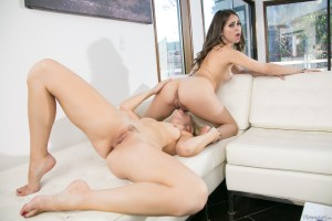 Perfect brunette and blonde has lesbian sex