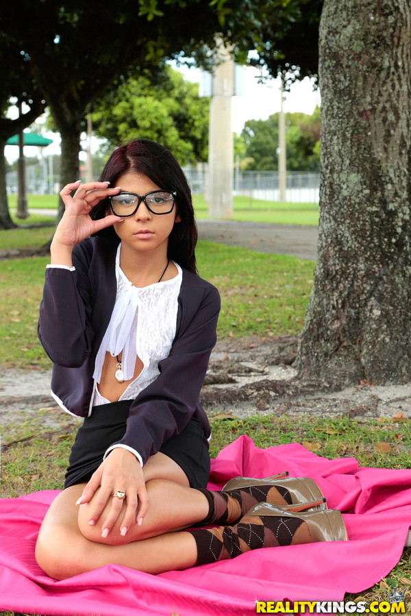 Perfect young petite teen latina girl with geeky glasses