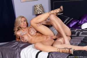 Sex with an elegant blonde milf with big tits and a perfect body