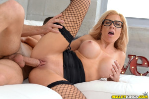 Sexy big titted blonde milf with black lingerie heels and glasses fucked
