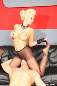 Perfect blonde mature milf with big silicone tits in pantyhose face sitting