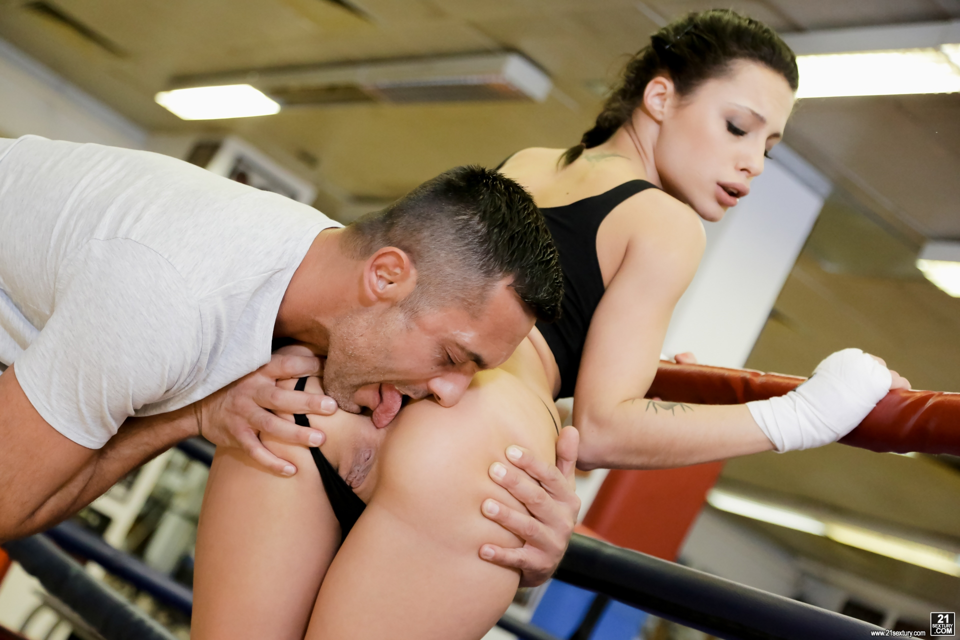 Sexy female boxer anal sex in gym