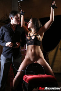 Tied up sexy girl rides sybian 2