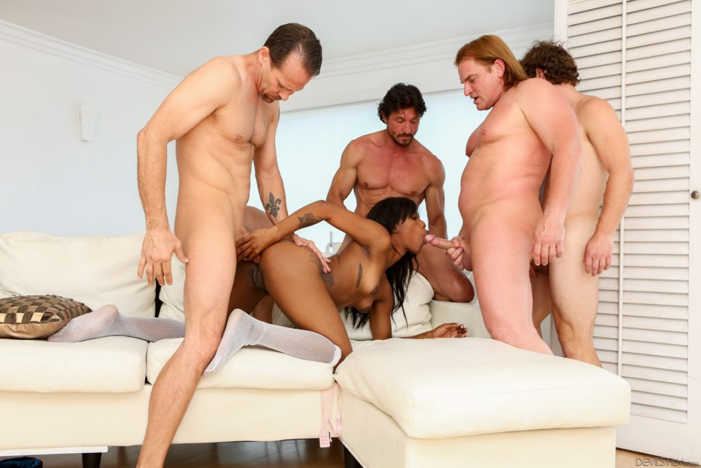 Sexy black woman fucks and sucks white guys