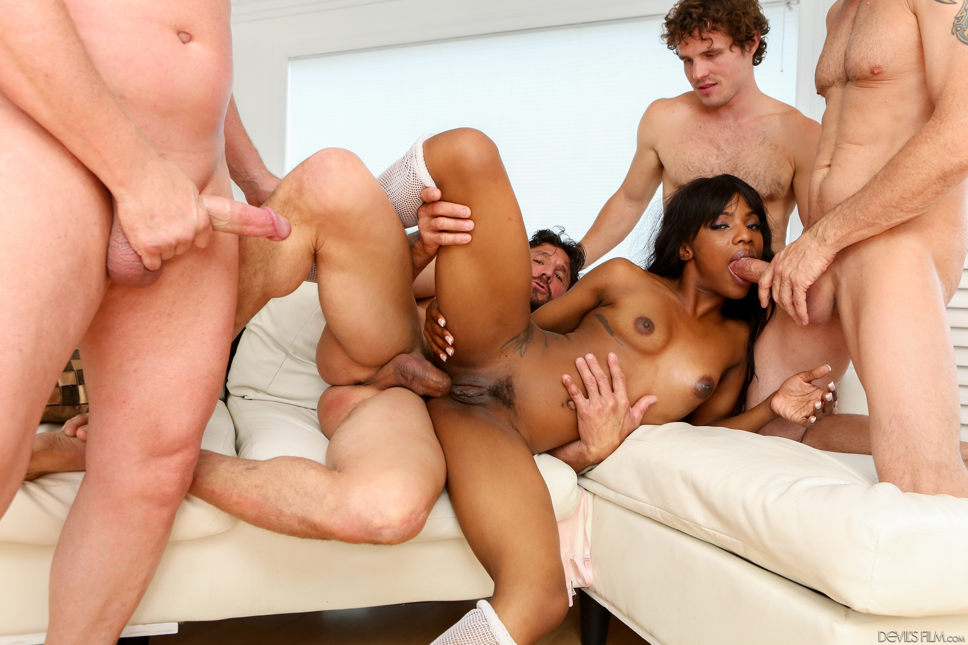 Detailed sex two men fuck one women scene