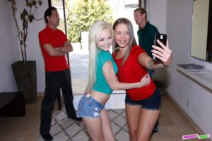 Sexy young girl with bracers and her girl friend