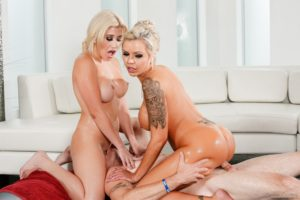 Perfect oily blonde milf rides dick while girl friend is face sitting the guy