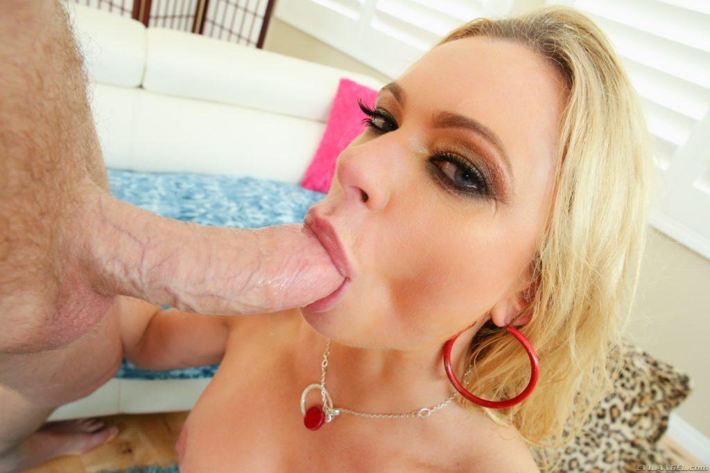 Sexy blonde milf close up blowjob photo