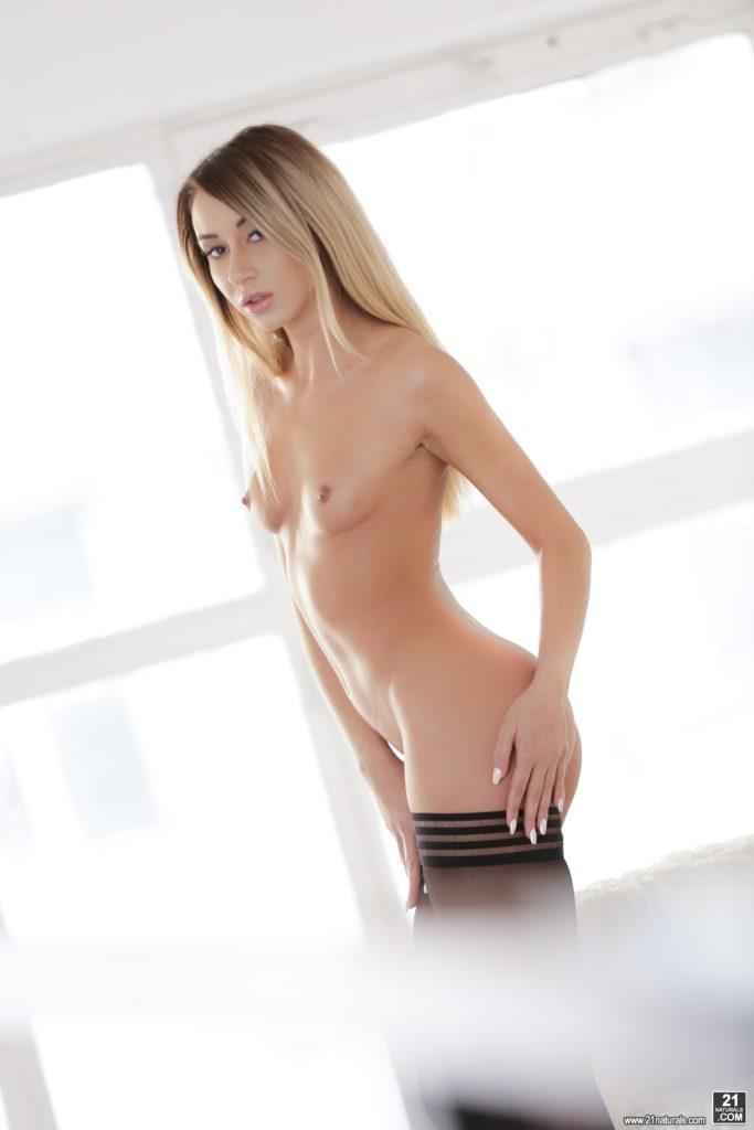 Slim sexy blonde babe